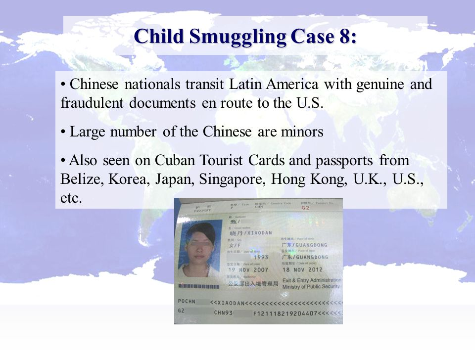 Child Smuggling Case 8: Chinese nationals transit Latin America with genuine and fraudulent documents en route to the U.S.