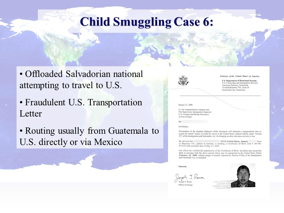Child Smuggling Case 7: Minor interdicted with counterfeit Lincoln Visa