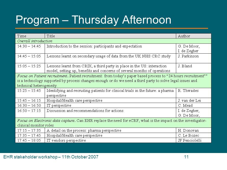 EHR stakeholder workshop – 11th October 2007 11 Program – Thursday Afternoon