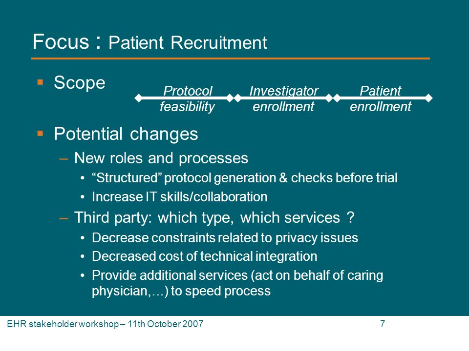 EHR stakeholder workshop – 11th October 2007 7 Focus : Patient Recruitment Scope Potential changes –New roles and processes Structured protocol generation & checks before trial Increase IT skills/collaboration –Third party: which type, which services .