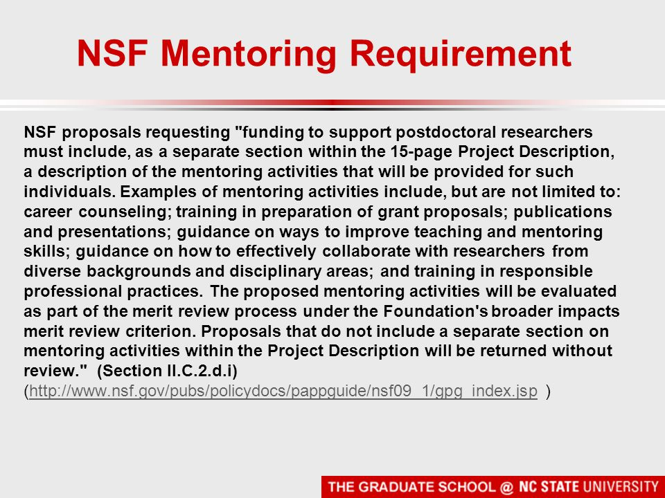 NSF Mentoring Requirement NSF proposals requesting