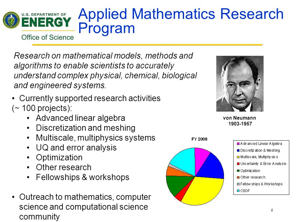 6 Applied Mathematics Research Program Currently supported research activities (~ 100 projects): Advanced linear algebra Discretization and meshing Multiscale, multiphysics systems UQ and error analysis Optimization Other research Fellowships & workshops Outreach to mathematics, computer science and computational science community von Neumann 1903-1957 Research on mathematical models, methods and algorithms to enable scientists to accurately understand complex physical, chemical, biological and engineered systems.