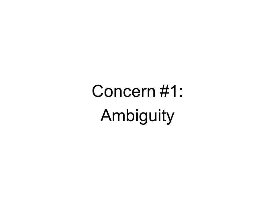 Concern #1: Ambiguity