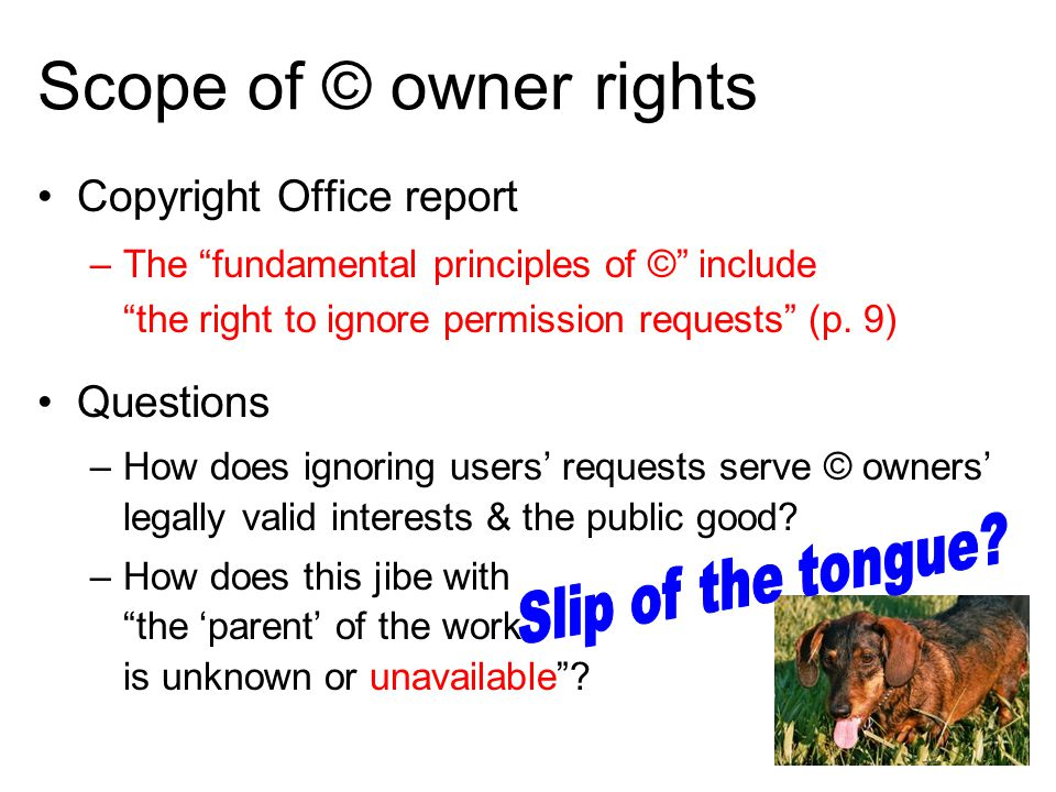 Scope of © owner rights Copyright Office report –The fundamental principles of © include the right to ignore permission requests (p.