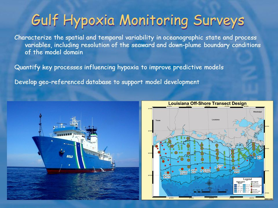 Gulf Hypoxia Monitoring Surveys Characterize the spatial and temporal variability in oceanographic state and process variables, including resolution of the seaward and down-plume boundary conditions of the model domain Quantify key processes influencing hypoxia to improve predictive models Develop geo-referenced database to support model development