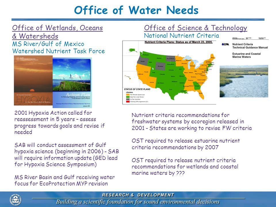 Office of Wetlands, Oceans & Watersheds MS River/Gulf of Mexico Watershed Nutrient Task Force Office of Science & Technology National Nutrient Criteria 2001 Hypoxia Action called for reassessment in 5 years – assess progress towards goals and revise if needed SAB will conduct assessment of Gulf hypoxia science (beginning in 2006) - SAB will require information update (GED lead for Hypoxia Science Symposium) MS River Basin and Gulf receiving water focus for EcoProtection MYP revision Nutrient criteria recommendations for freshwater systems by ecoregion released in 2001 - States are working to revise FW criteria OST required to release estuarine nutrient criteria recommendations by 2007 OST required to release nutrient criteria recommendations for wetlands and coastal marine waters by .