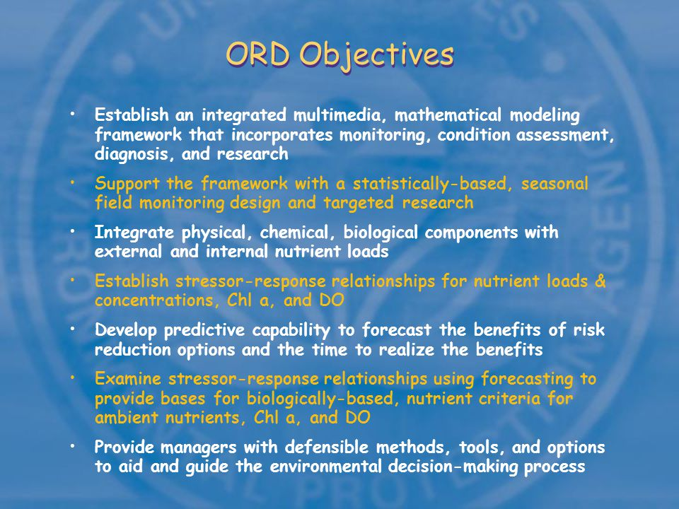 ORD Gulf Hypoxia Modeling Framework Surface Wave Model Hydrodynamic Model Atmospheric Transport Model Computational Transport Sediment Transport & Diagenesis Model Water Quality Model Eutrophication Model Mass Balance Wave direction, height, period Deposition Fluxes Advective/ Dispersive Transport Dissolved Oxygen Model (water/sediment) Meteorological data Constituent Mass loadings