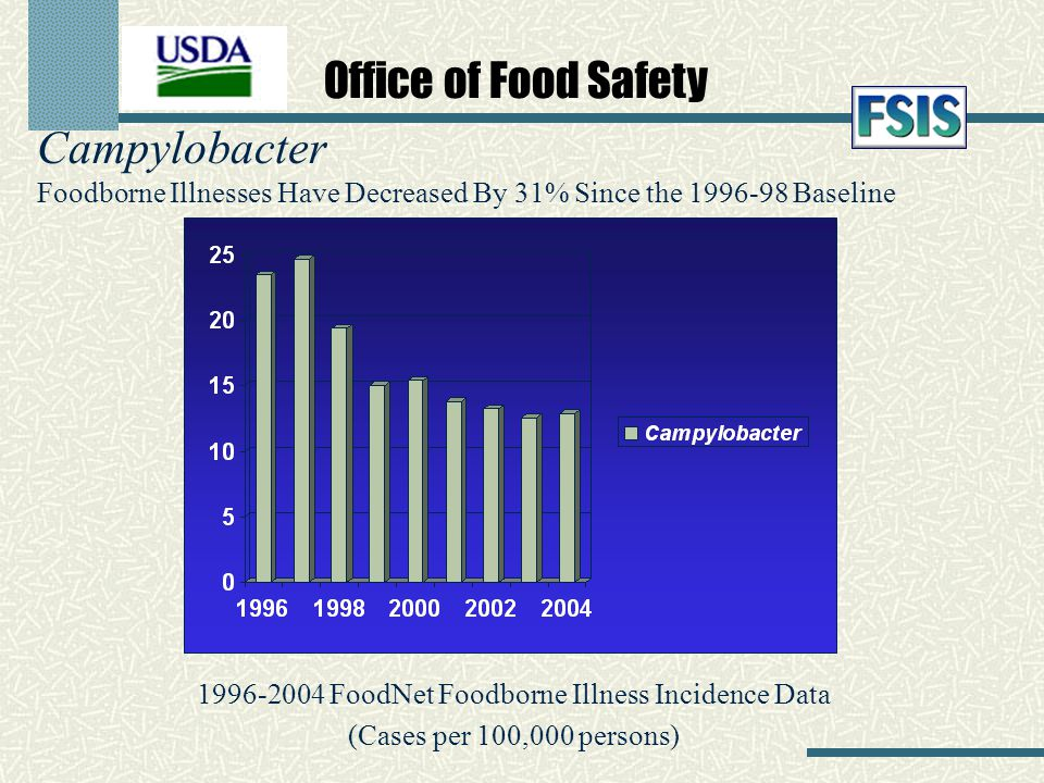 Campylobacter Foodborne Illnesses Have Decreased By 31% Since the 1996-98 Baseline 1996-2004 FoodNet Foodborne Illness Incidence Data (Cases per 100,0