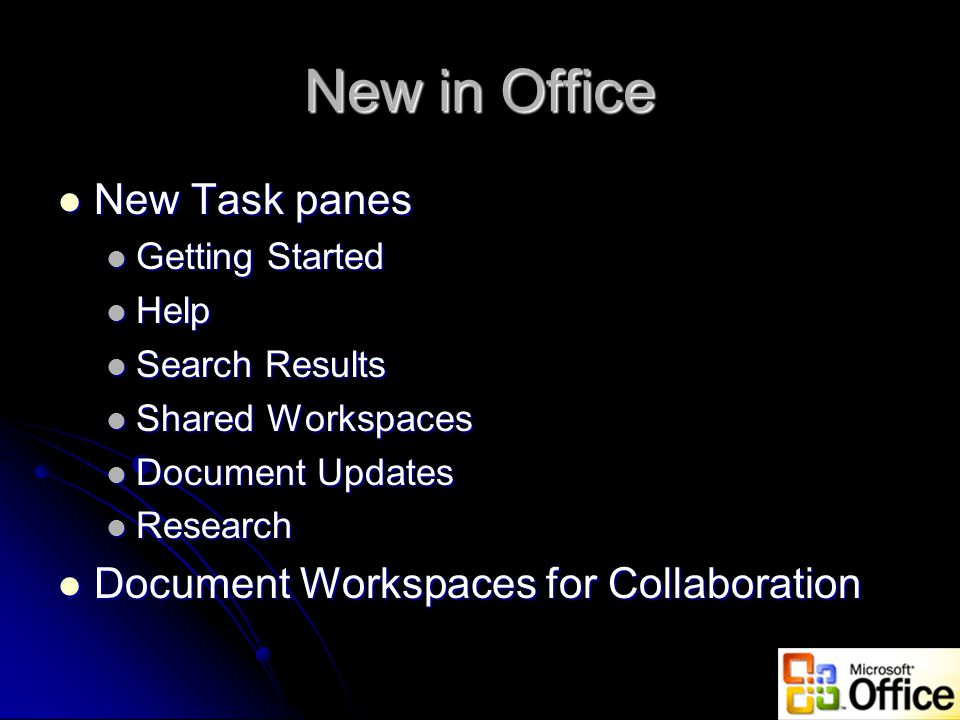 New in Office New Task panes New Task panes Getting Started Getting Started Help Help Search Results Search Results Shared Workspaces Shared Workspaces Document Updates Document Updates Research Research Document Workspaces for Collaboration Document Workspaces for Collaboration