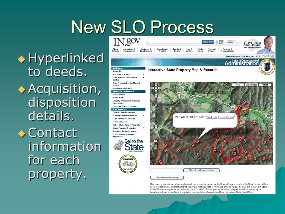 New SLO Process Hyperlinked to deeds. Hyperlinked to deeds.