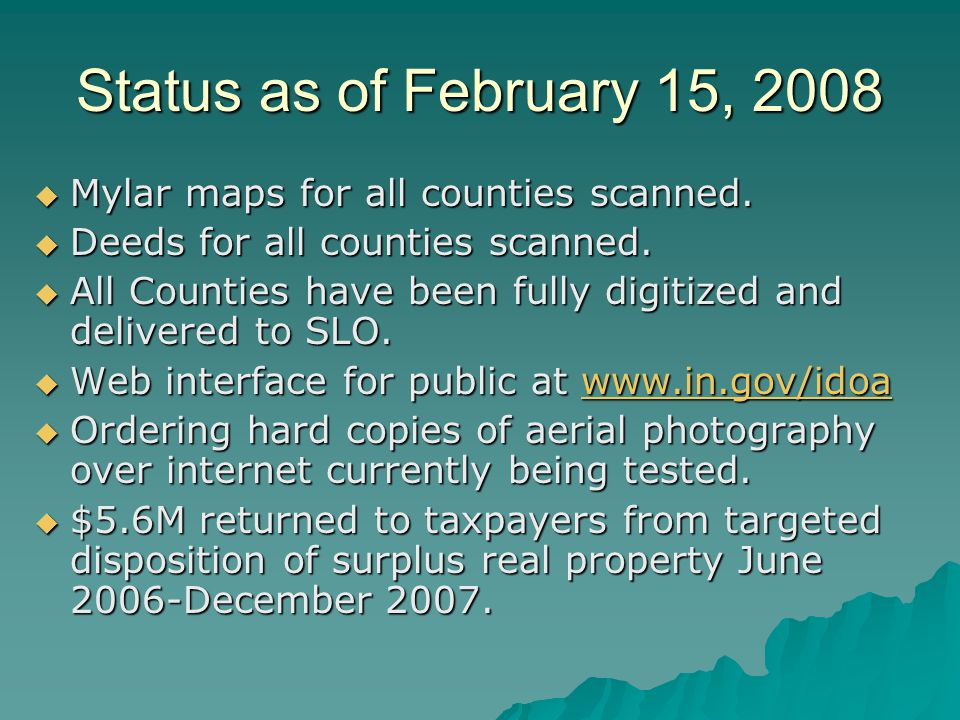 Status as of February 15, 2008 Mylar maps for all counties scanned.