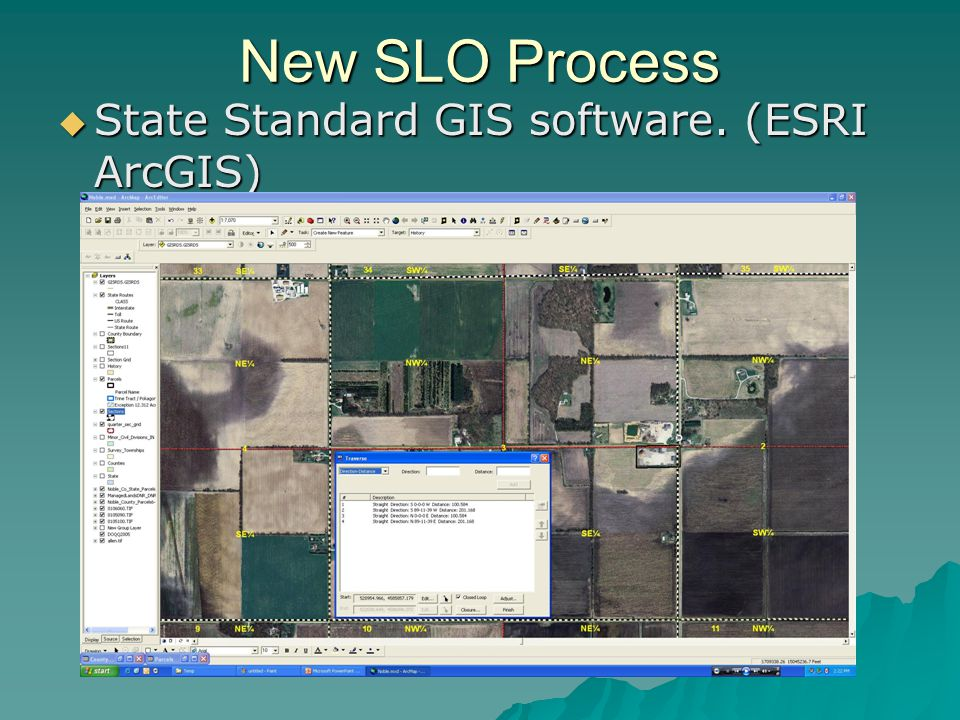 New SLO Process State Standard GIS software. (ESRI ArcGIS) State Standard GIS software.