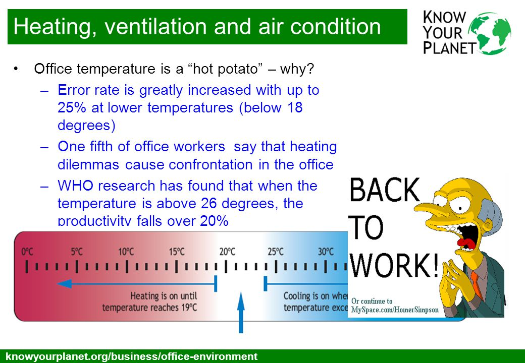 Toggle below knowyourplanet.org/business/office-environment Heating, ventilation and air condition Heating can account to as much as 20-40% of energy costs in a typical office – but before making changes –Get feedback from the staff, heating can be a politically tricky issue –Remember to take hot and cold spots into consideration.