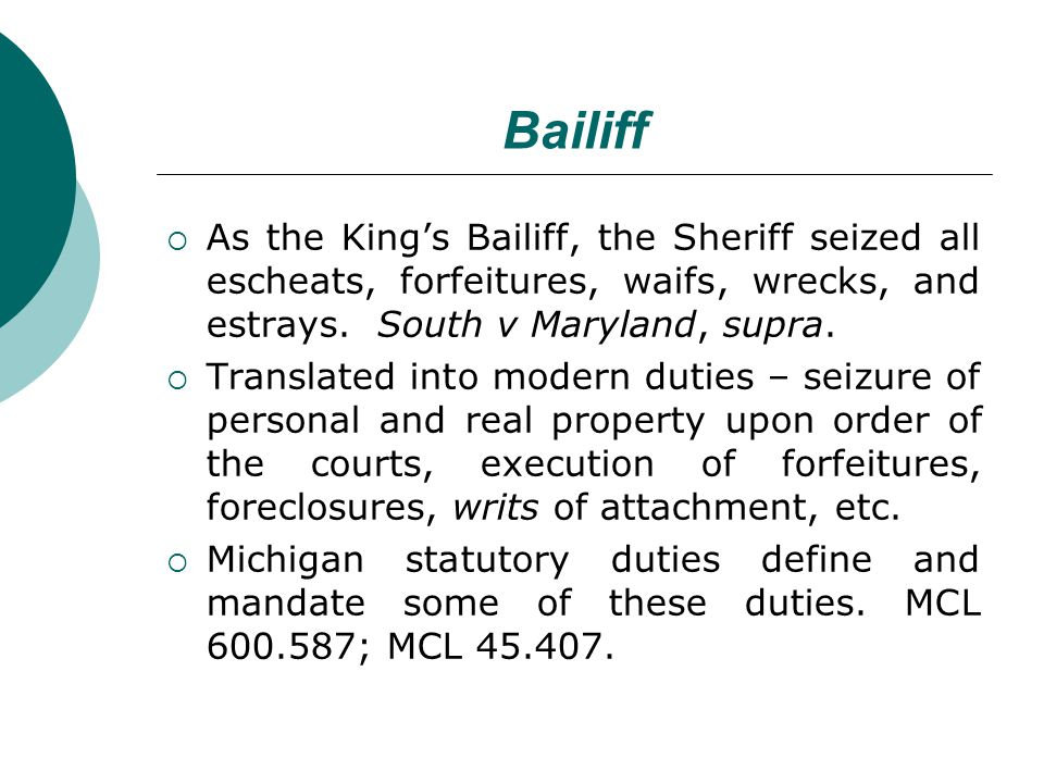Bailiff As the Kings Bailiff, the Sheriff seized all escheats, forfeitures, waifs, wrecks, and estrays.