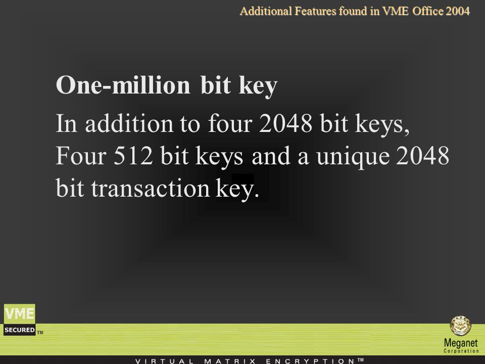 One-million bit key In addition to four 2048 bit keys, Four 512 bit keys and a unique 2048 bit transaction key.
