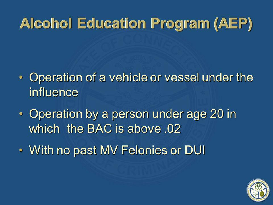 Alcohol Education Program (AEP) Operation of a vehicle or vessel under the influenceOperation of a vehicle or vessel under the influence Operation by a person under age 20 in which the BAC is above.02Operation by a person under age 20 in which the BAC is above.02 With no past MV Felonies or DUIWith no past MV Felonies or DUI