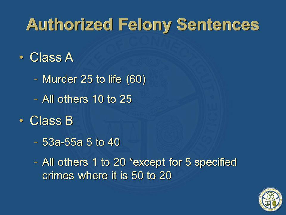 Authorized Felony Sentences Class AClass A - Murder 25 to life (60) - All others 10 to 25 Class BClass B - 53a-55a 5 to 40 - All others 1 to 20 *except for 5 specified crimes where it is 50 to 20
