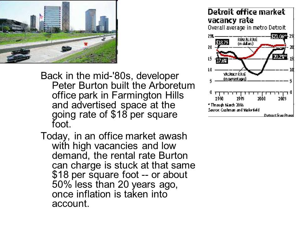 Back in the mid- 80s, developer Peter Burton built the Arboretum office park in Farmington Hills and advertised space at the going rate of $18 per square foot.