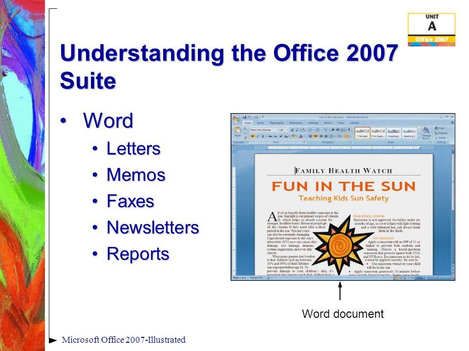 Microsoft Office 2007-Illustrated Summary Microsoft Office 2007: program suiteMicrosoft Office 2007: program suite Word: creates text documentsWord: creates text documents Excel: creates worksheetsExcel: creates worksheets Access: creates a databaseAccess: creates a database PowerPoint: creates presentationsPowerPoint: creates presentations