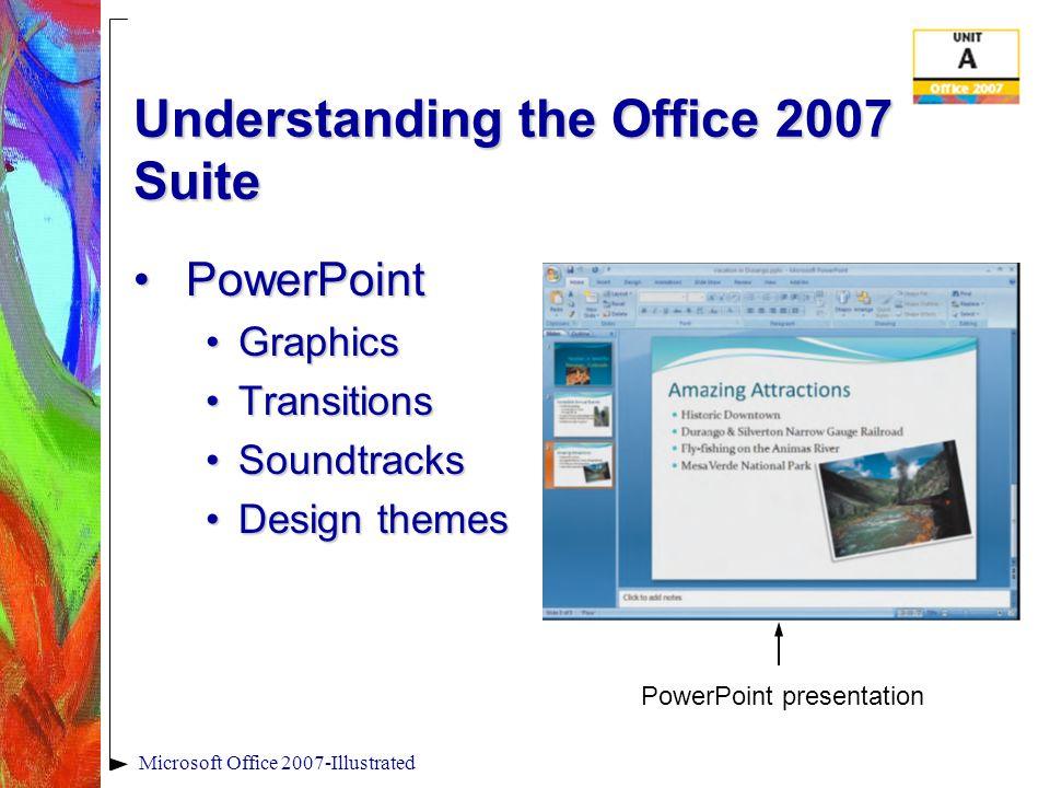 Microsoft Office 2007-Illustrated Understanding the Office 2007 Suite AccessAccess InventoriesInventories Employee dataEmployee data Customer dataCustomer data Sales dataSales data QueriesQueries Access database form