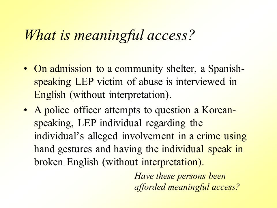 What is meaningful access.