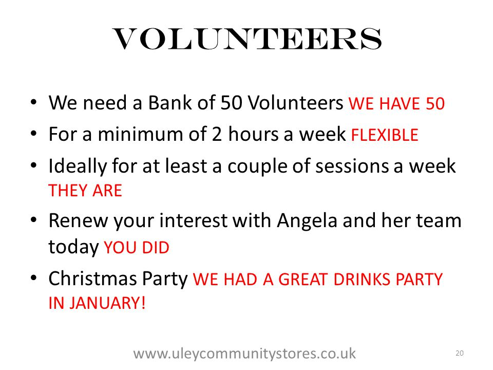 VOLUNTEERS We need a Bank of 50 Volunteers WE HAVE 50 For a minimum of 2 hours a week FLEXIBLE Ideally for at least a couple of sessions a week THEY ARE Renew your interest with Angela and her team today YOU DID Christmas Party WE HAD A GREAT DRINKS PARTY IN JANUARY.