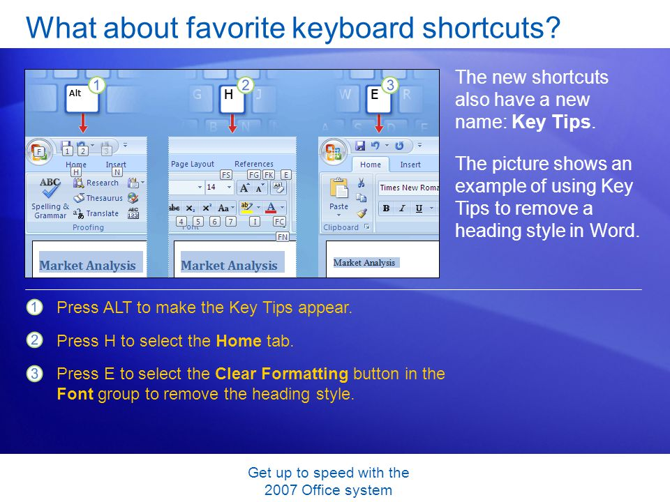 Get up to speed with the 2007 Office system What about favorite keyboard shortcuts? The new shortcuts also have a new name: Key Tips. The picture show
