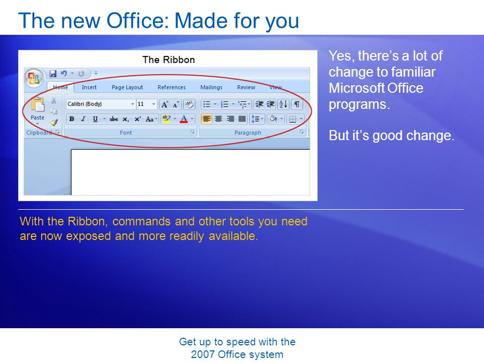 Get up to speed with the 2007 Office system The new Office: Made for you Yes, theres a lot of change to familiar Microsoft Office programs.
