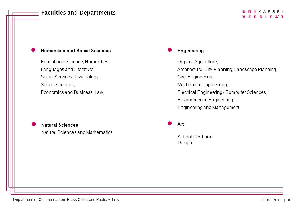 Department of Communication, Press Office and Public Affairs 13.06.2014   30 Faculties and Departments Humanities and Social Sciences Educational Scie