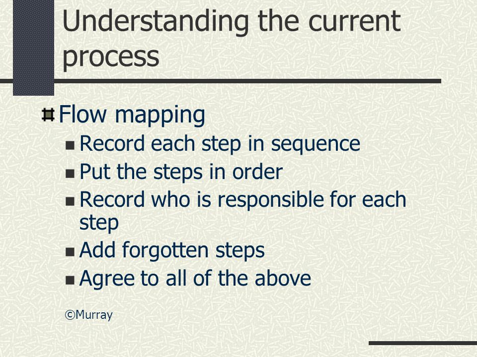 Understanding the current process Flow mapping Record each step in sequence Put the steps in order Record who is responsible for each step Add forgotten steps Agree to all of the above ©Murray