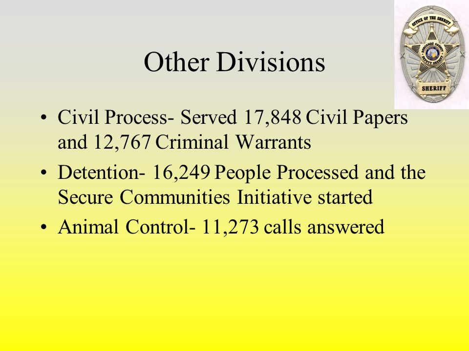 Other Divisions Civil Process- Served 17,848 Civil Papers and 12,767 Criminal Warrants Detention- 16,249 People Processed and the Secure Communities Initiative started Animal Control- 11,273 calls answered
