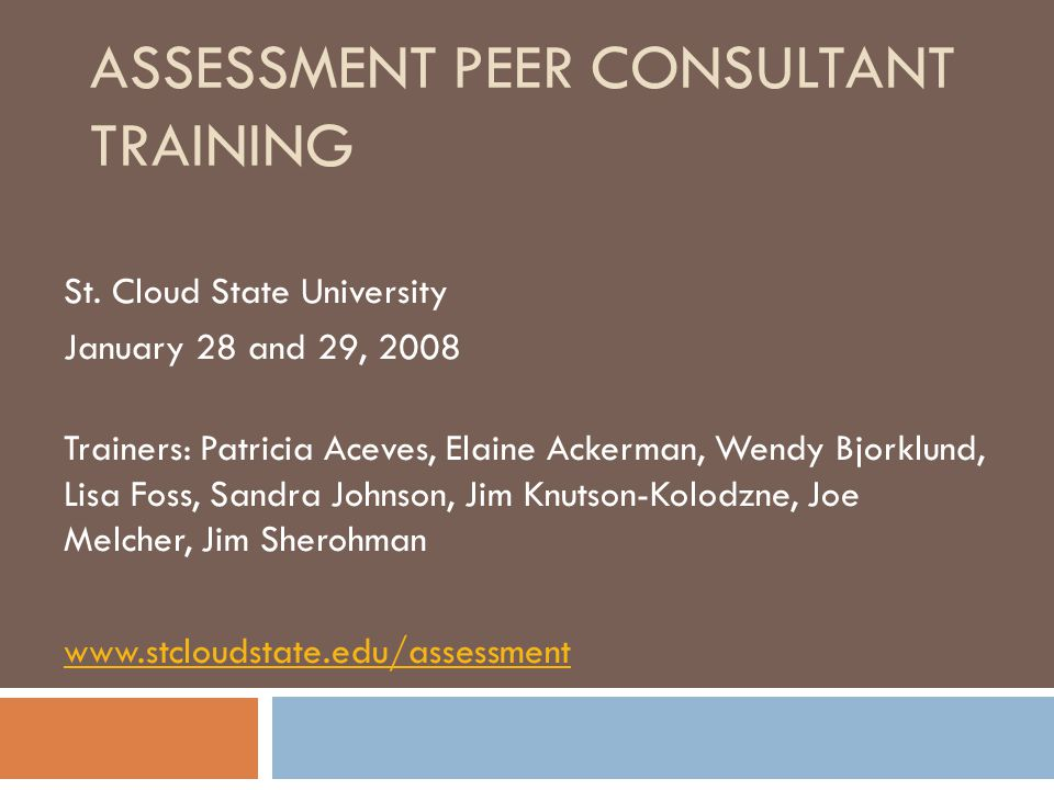 Learning Outcomes for Peer Consultant Training Those who complete this training will be able to: Articulate the basic principles of assessment Present the SCSU model of assessment Facilitate the assessment process in departments, programs, and units