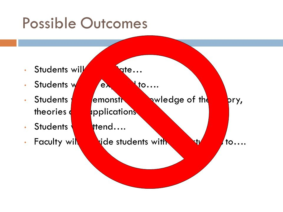 Possible Outcomes Students will appreciate… Students will be exposed to…. Students will demonstrate knowledge of the history, theories and application