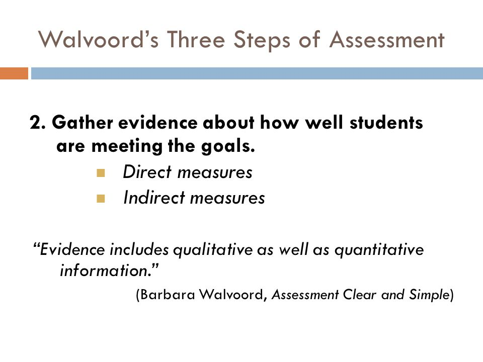 Walvoords Three Steps of Assessment 2. Gather evidence about how well students are meeting the goals. Direct measures Indirect measures Evidence inclu