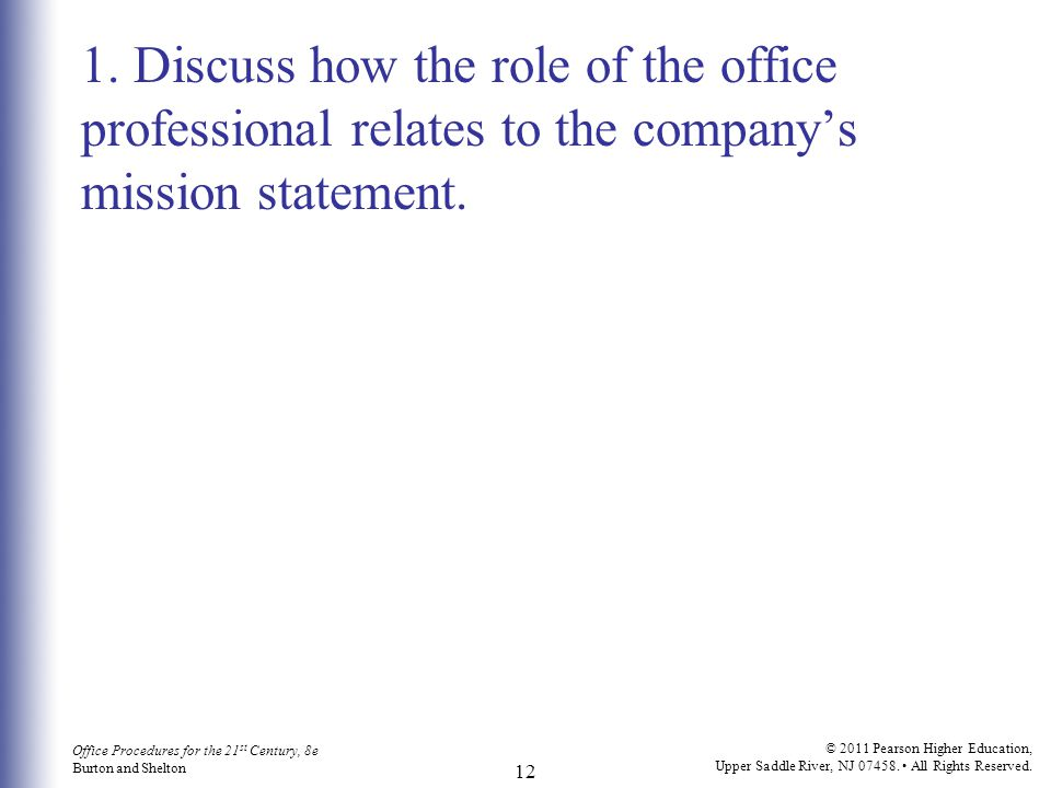 Office Procedures for the 21 st Century, 8e Burton and Shelton © 2011 Pearson Higher Education, Upper Saddle River, NJ 07458. All Rights Reserved. 12