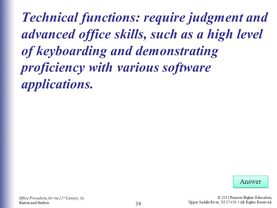 Office Procedures for the 21 st Century, 8e Burton and Shelton © 2011 Pearson Higher Education, Upper Saddle River, NJ 07458. All Rights Reserved. 39