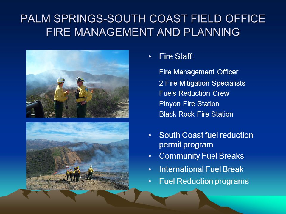 PALM SPRINGS-SOUTH COAST FIELD OFFICE FIRE MANAGEMENT AND PLANNING Fire Staff: Fire Management Officer 2 Fire Mitigation Specialists Fuels Reduction C