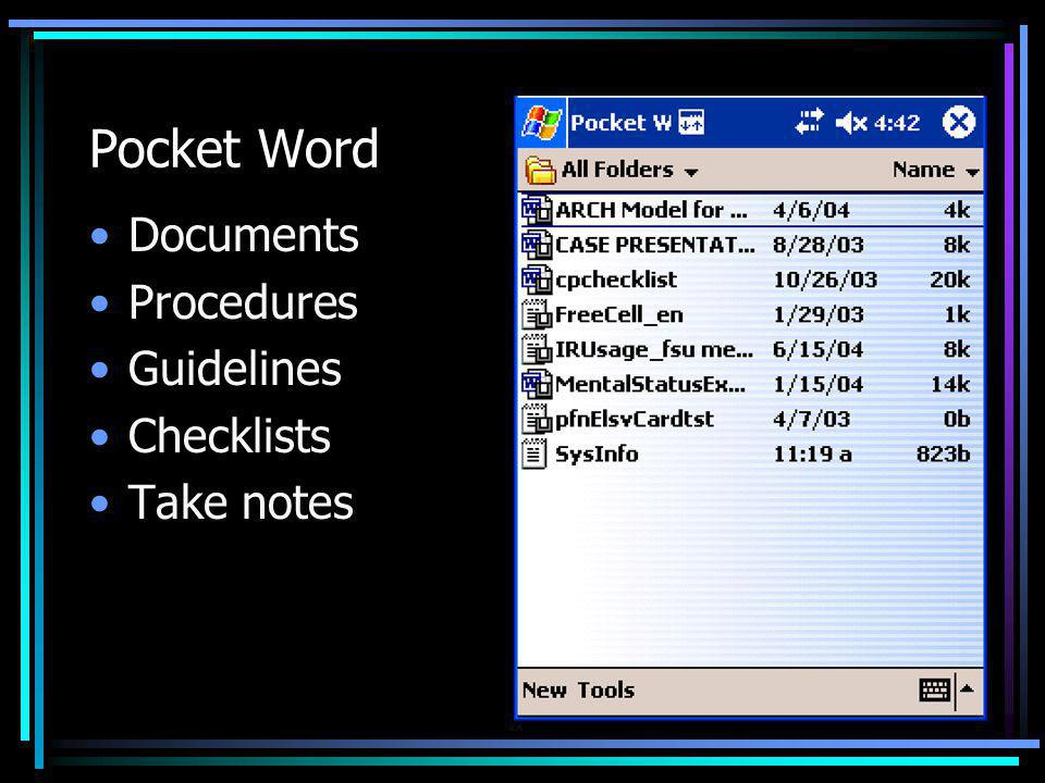 Pocket Word Documents Procedures Guidelines Checklists Take notes