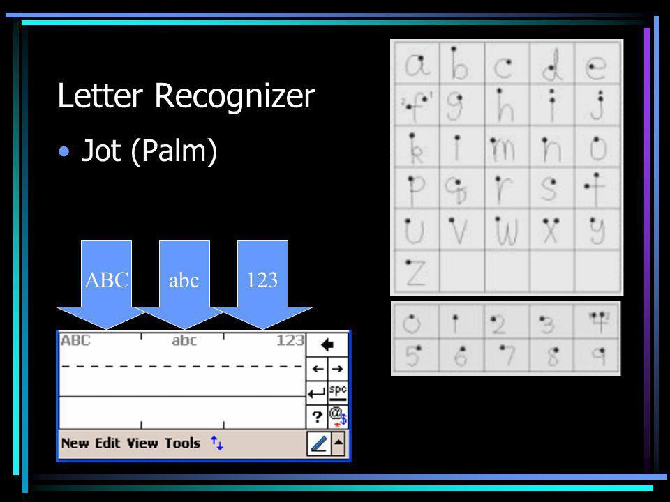Letter Recognizer Jot (Palm) ABCabc123