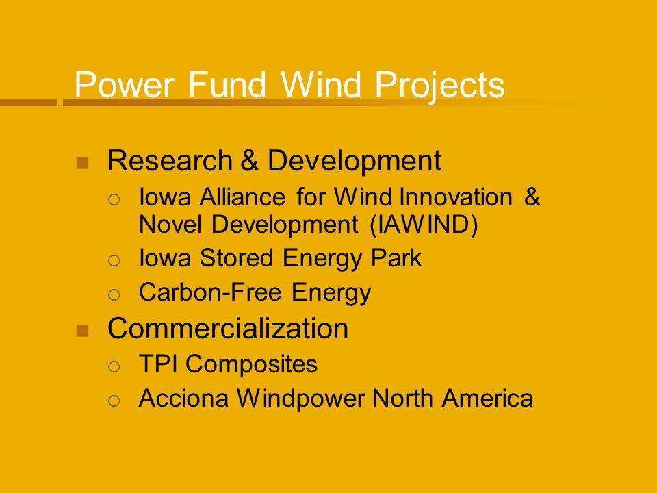 Power Fund Wind Projects Research & Development Iowa Alliance for Wind Innovation & Novel Development (IAWIND) Iowa Stored Energy Park Carbon-Free Ene