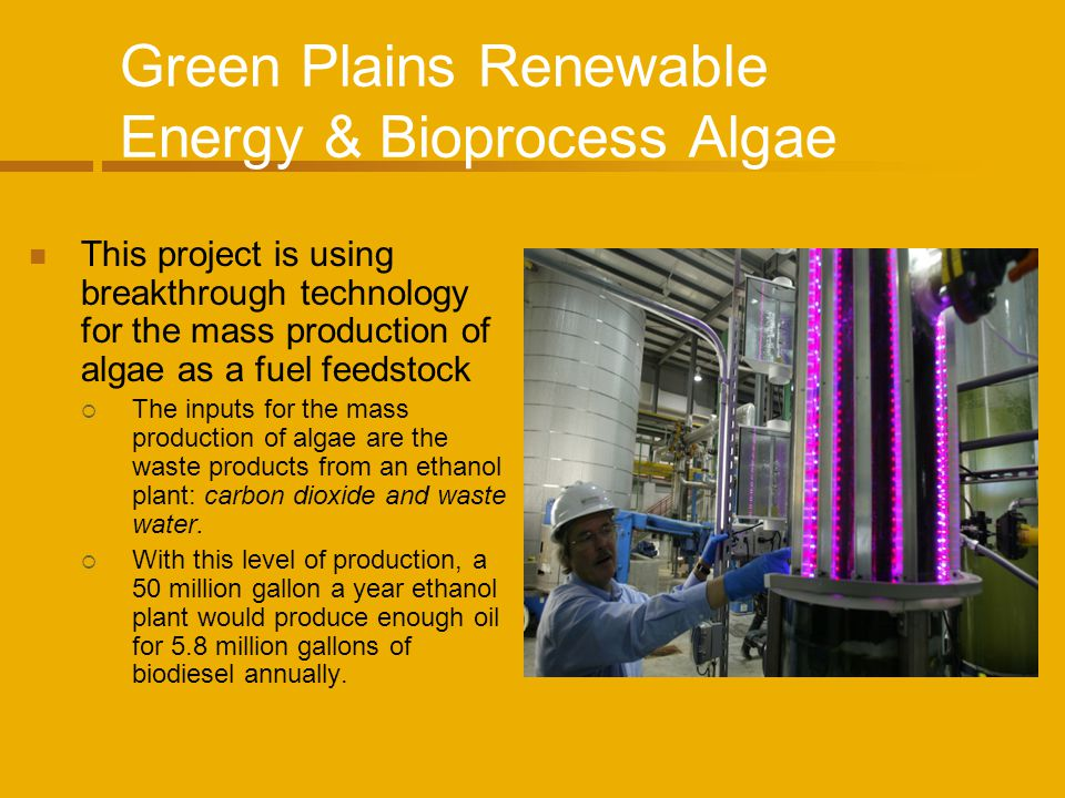 Green Plains Renewable Energy & Bioprocess Algae This project is using breakthrough technology for the mass production of algae as a fuel feedstock Th