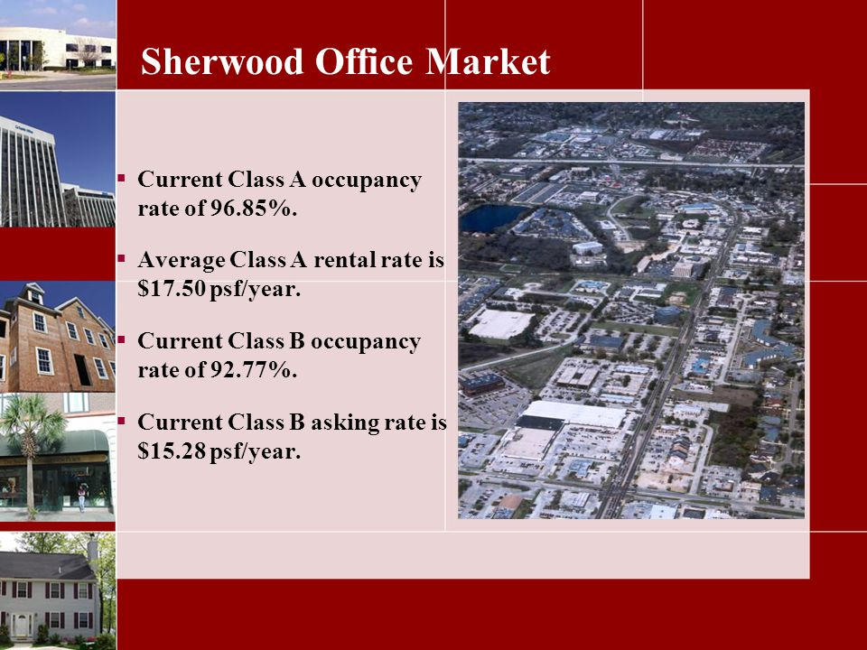 Sherwood Office Market Current Class A occupancy rate of 96.85%.