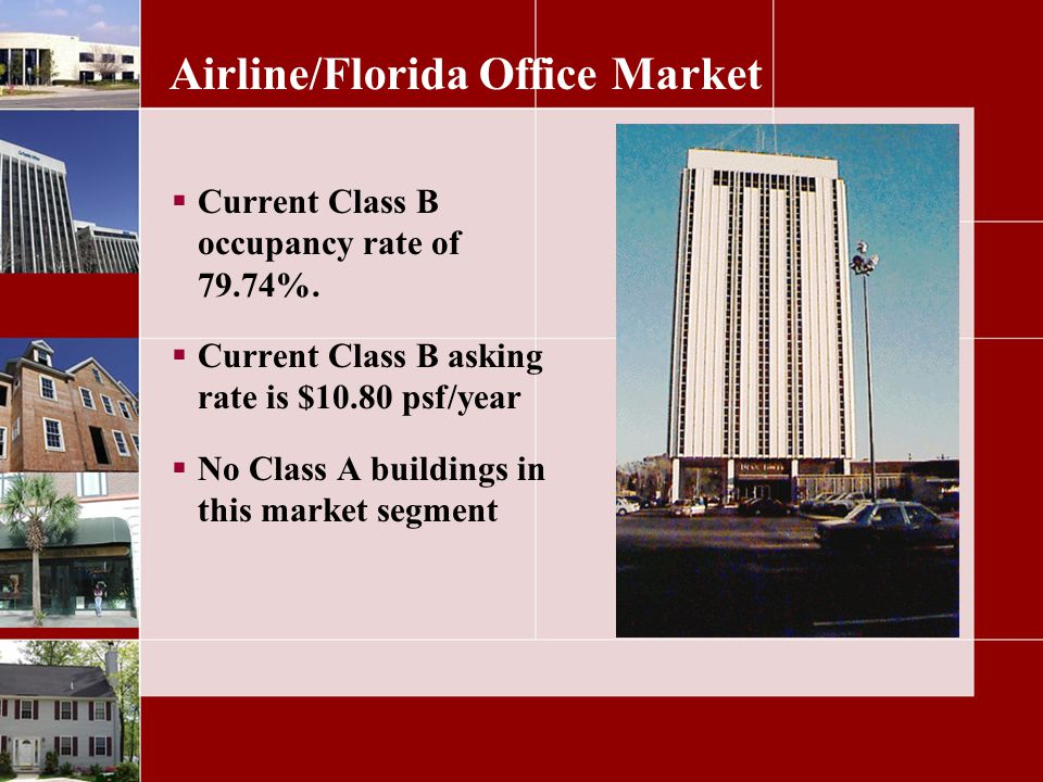 Airline/Florida Office Market Current Class B occupancy rate of 79.74%.