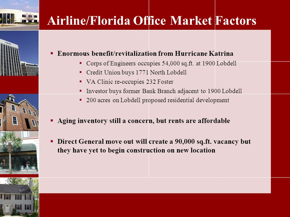 Airline/Florida Office Market Factors Enormous benefit/revitalization from Hurricane Katrina Corps of Engineers occupies 54,000 sq.ft.
