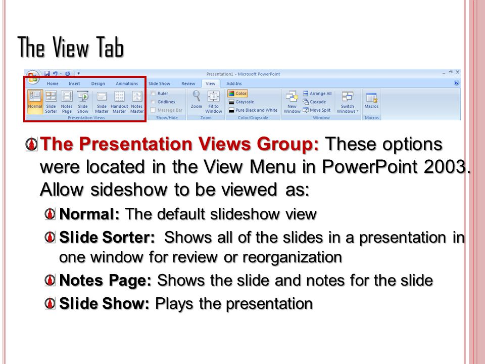 The View Tab The Presentation Views Group: These options were located in the View Menu in PowerPoint 2003. Allow sideshow to be viewed as: Normal: The