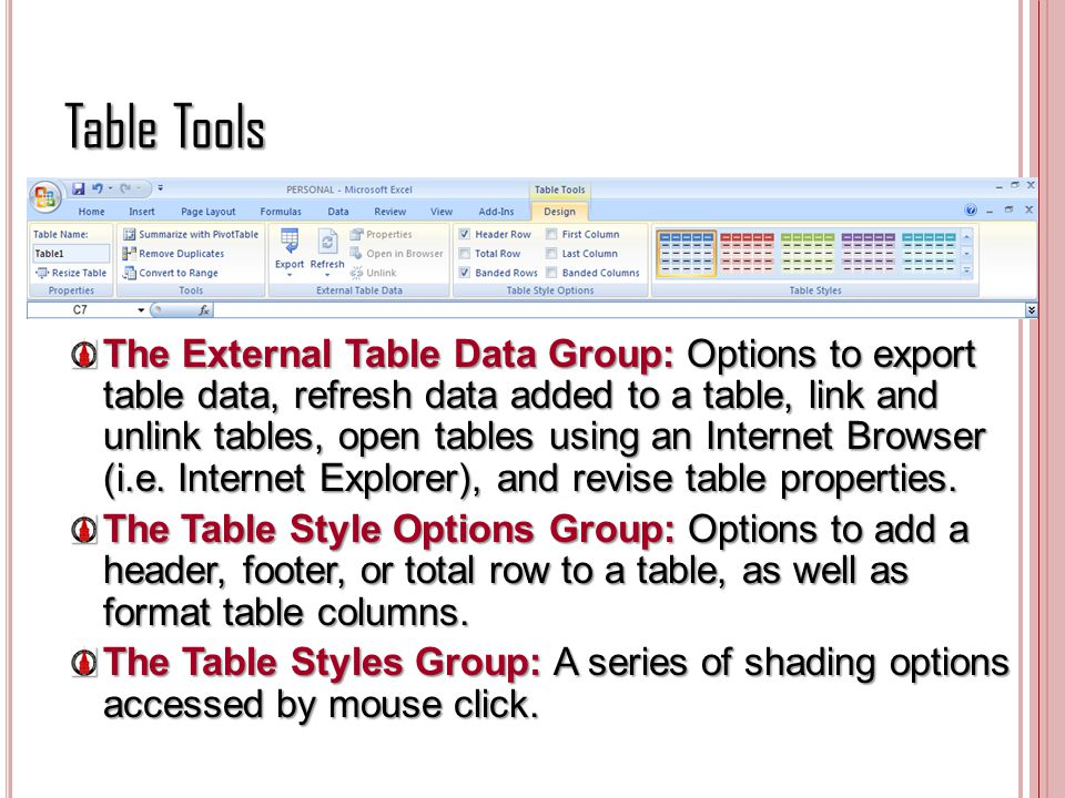 Table Tools The External Table Data Group: Options to export table data, refresh data added to a table, link and unlink tables, open tables using an I