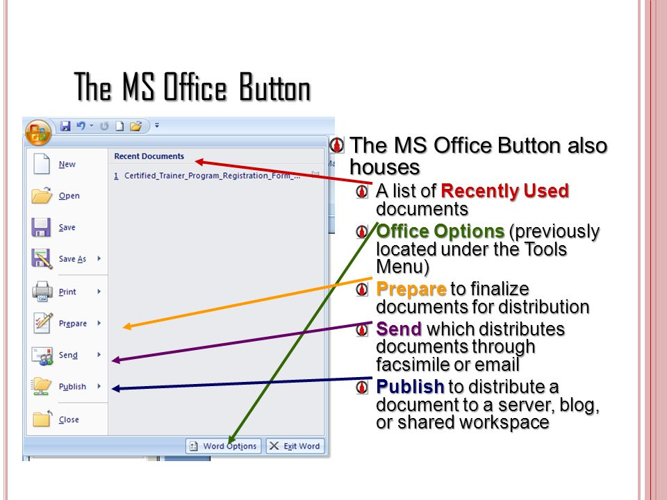 The MS Office Button The MS Office Button also houses A list of Recently Used documents Office Options (previously located under the Tools Menu) Prepa