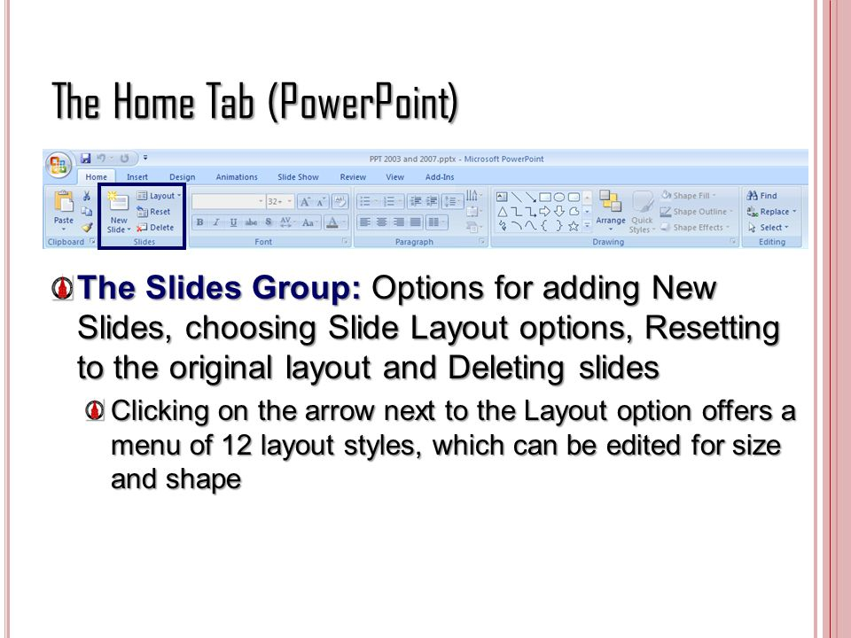 The Home Tab (PowerPoint) The Slides Group: Options for adding New Slides, choosing Slide Layout options, Resetting to the original layout and Deletin