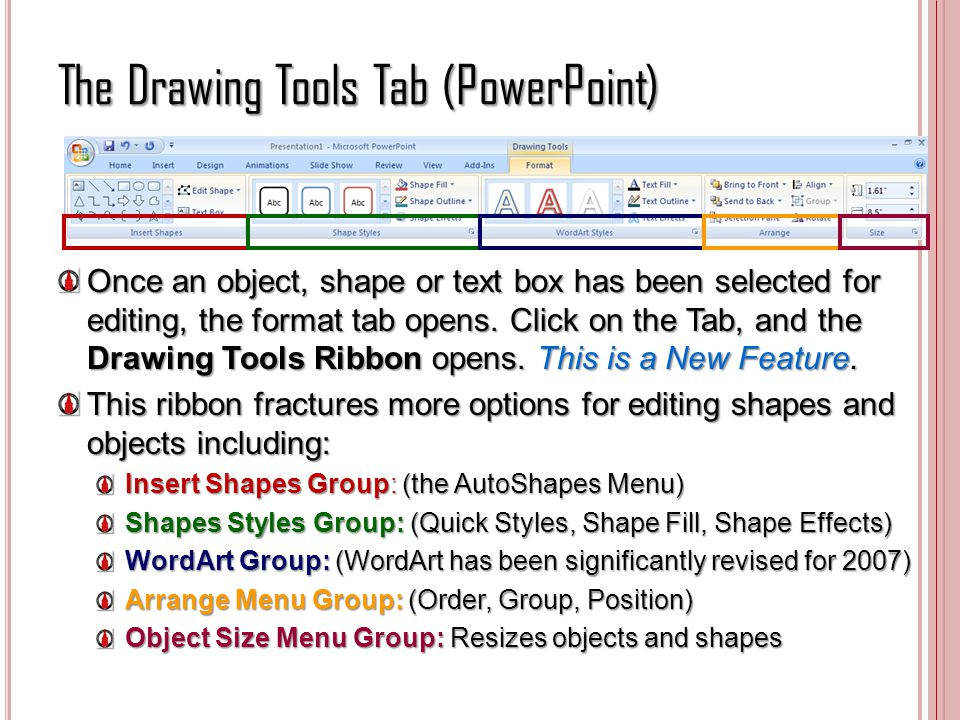 The Drawing Tools Tab (PowerPoint) Once an object, shape or text box has been selected for editing, the format tab opens. Click on the Tab, and the Dr