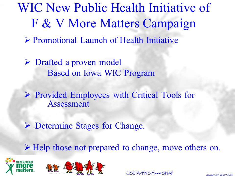 January 24 th & 25 th 2008 USDA/FNS Hawaii SNAP Promotional Launch of Health Initiative Drafted a proven model Based on Iowa WIC Program Provided Employees with Critical Tools for Assessment Determine Stages for Change.
